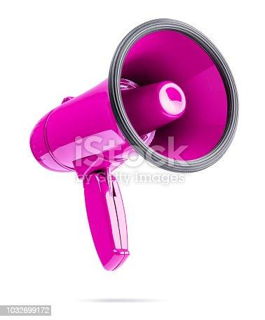 istock Pink megaphone isolated on white background 1032699172