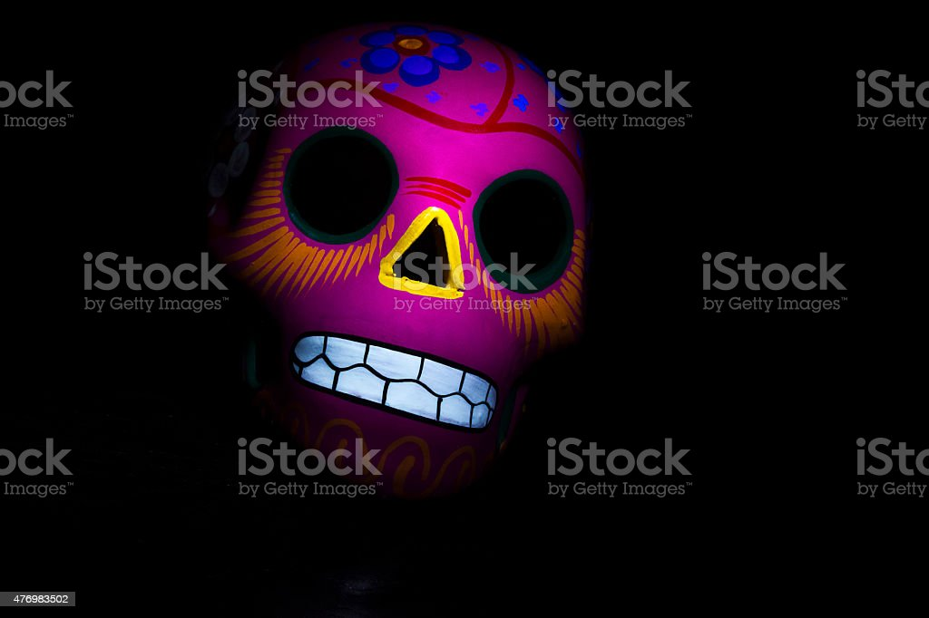 Pink mexican skull stock photo