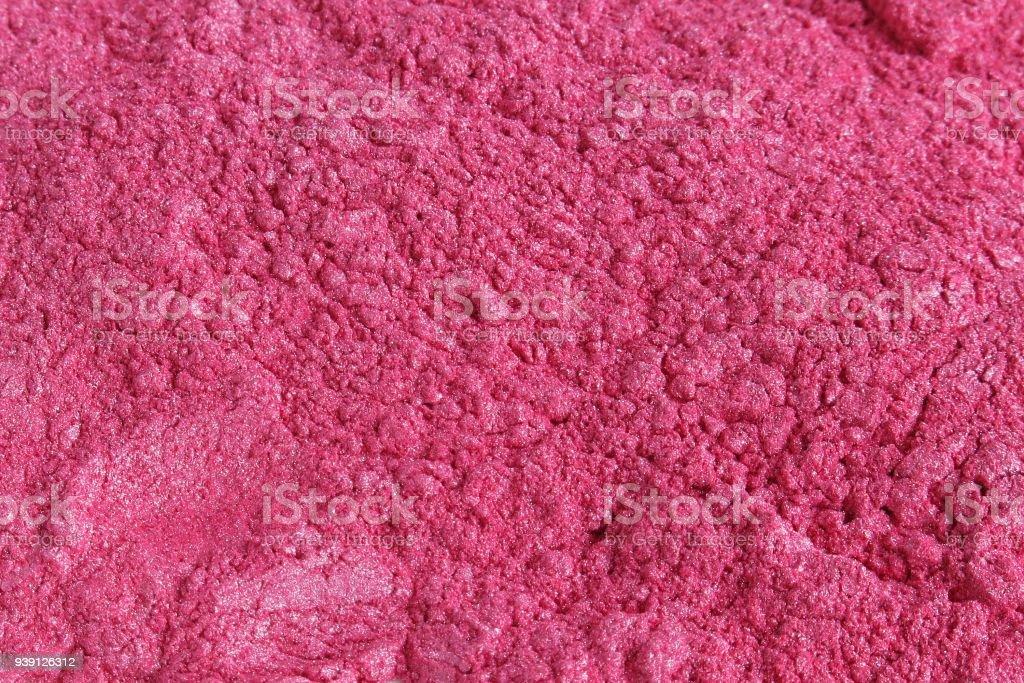 Pink mica pigment powder stock photo