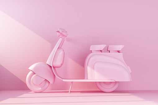 pink moped on pink background