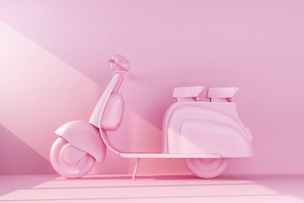 pink moped on pink background stock photo