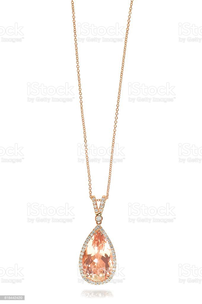 Pink Morganite Necklace stock photo