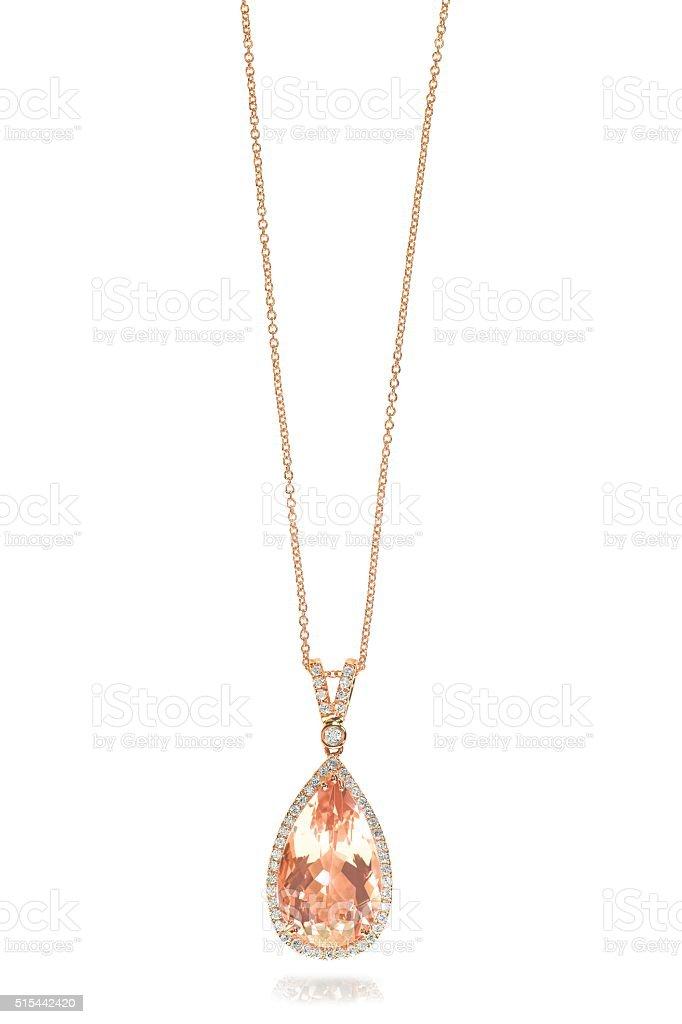 Pink Morganite Necklace stock photo
