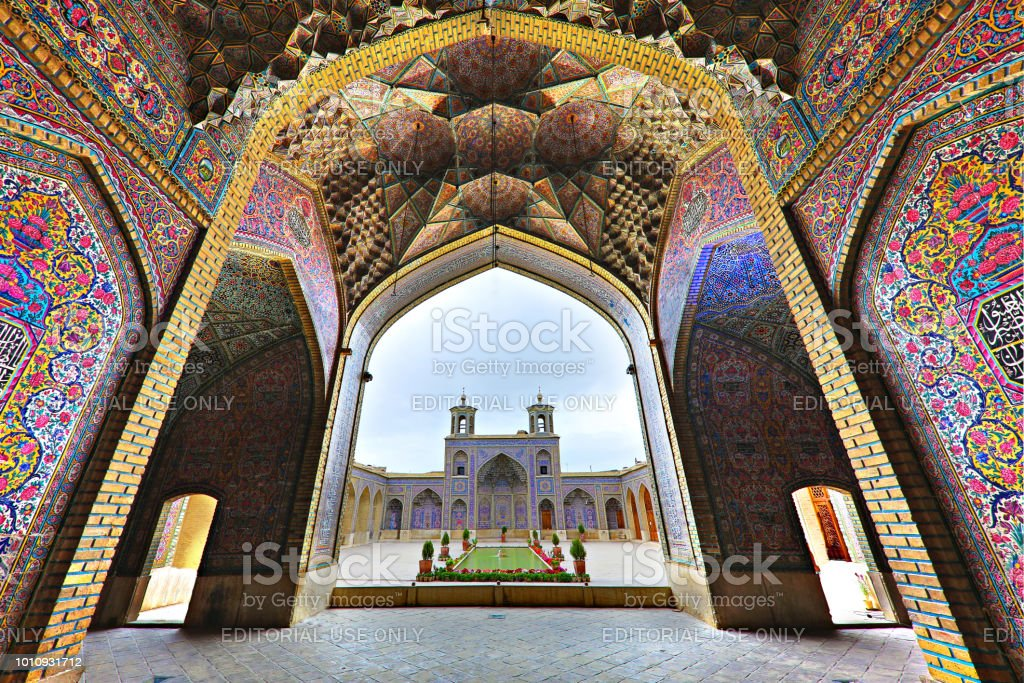 Pink Mosque in Shiraz, Iran stock photo