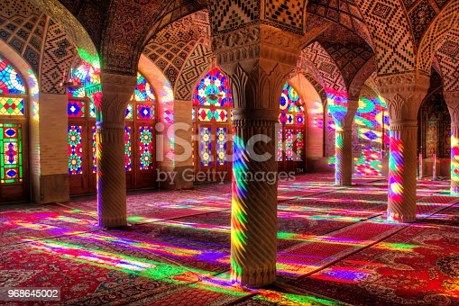 The Nasir al-Mulk mosque or also called Pink mosque in the centre of Shiraz in Iran