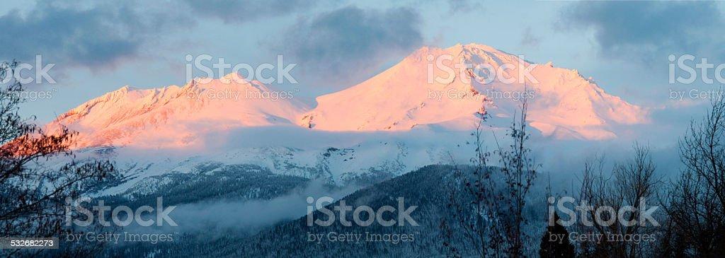 Pink Mountain Panorama stock photo