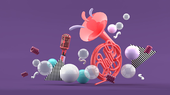Pink musical instruments amid colorful balls on blue and purple background.-3d render.