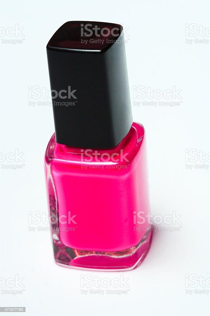 Pink nail polish on white background royalty-free stock photo