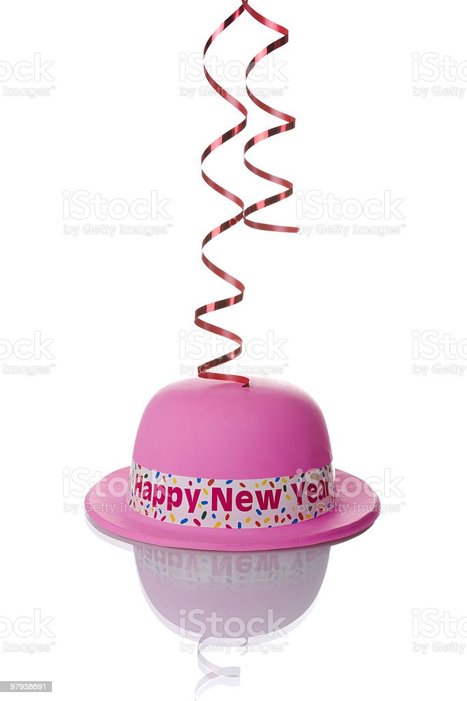 pink new year hat royalty-free stock photo
