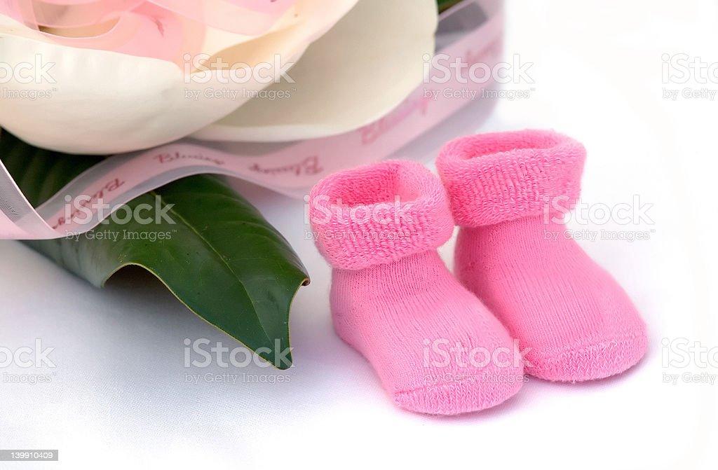 Pink newborn girl socks with magnolia blower royalty-free stock photo