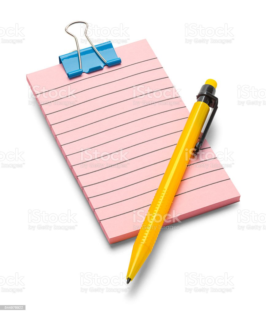 Pink Notepad and Pencil stock photo