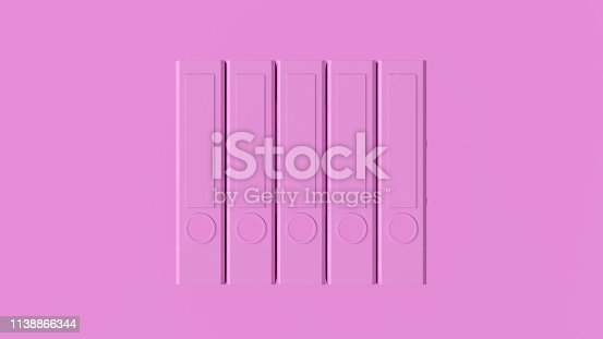 istock Pink Office Ring Binders 1138866344