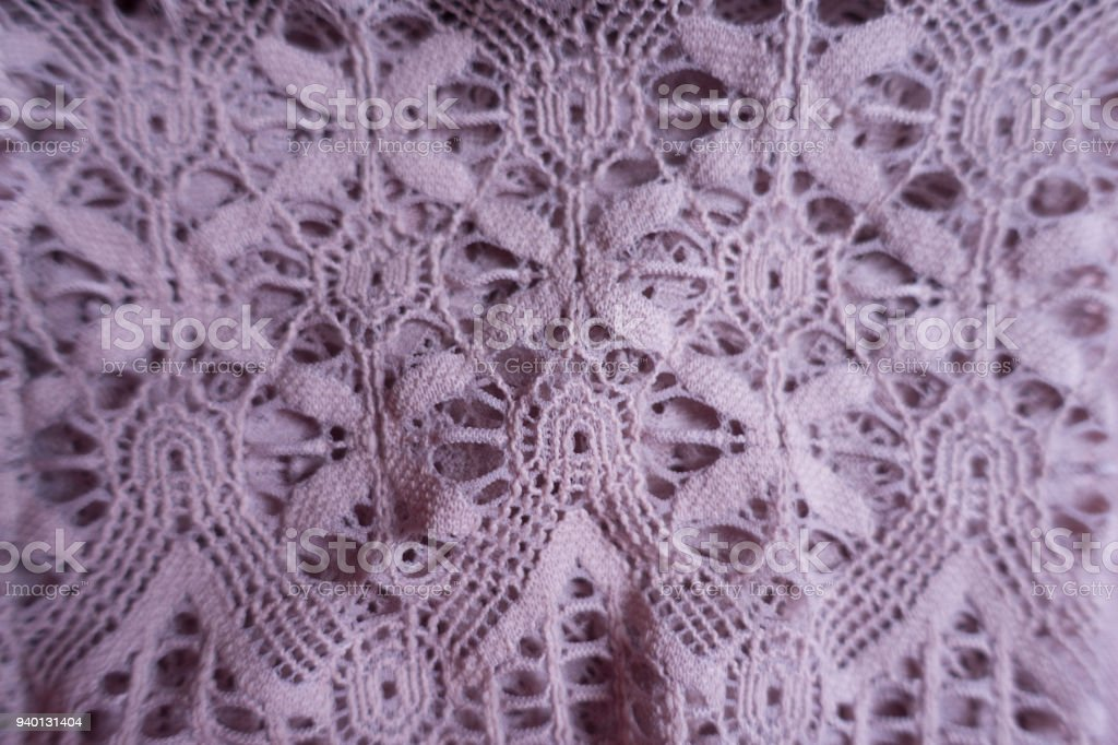 Pink old fashioned lacy fabric (close shot) stock photo