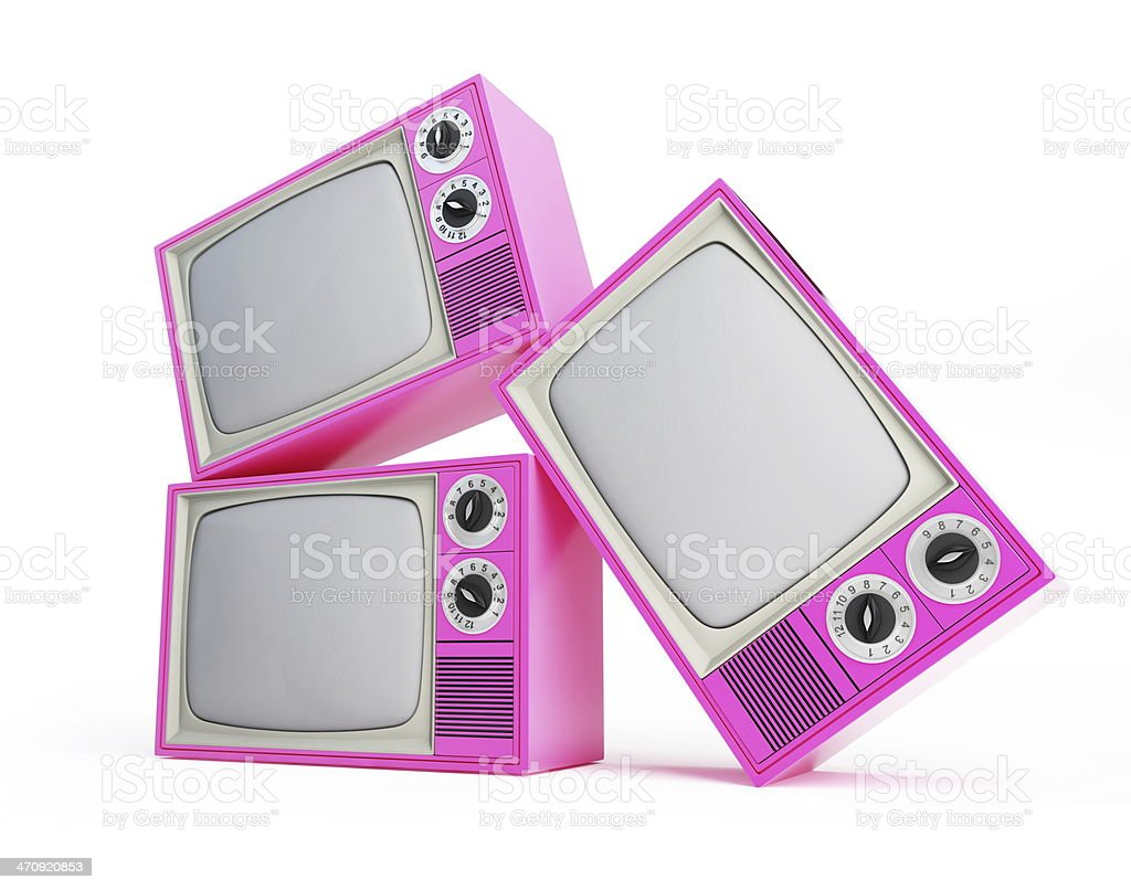pink old tv on a white backgroun stock photo