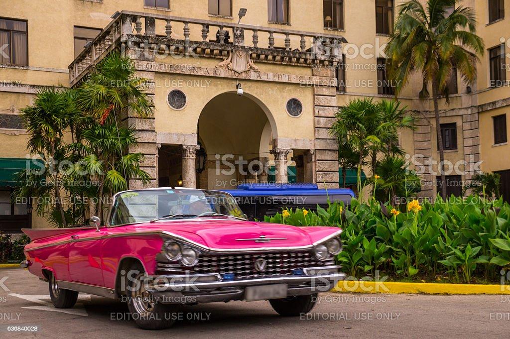 Pink oldtimer at Hotel nacional - Havana, Cuba stock photo