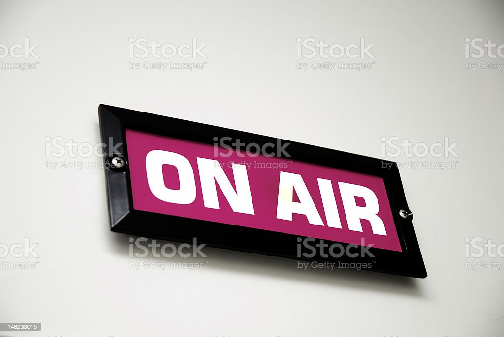 Pink 'On Air' sign. royalty-free stock photo