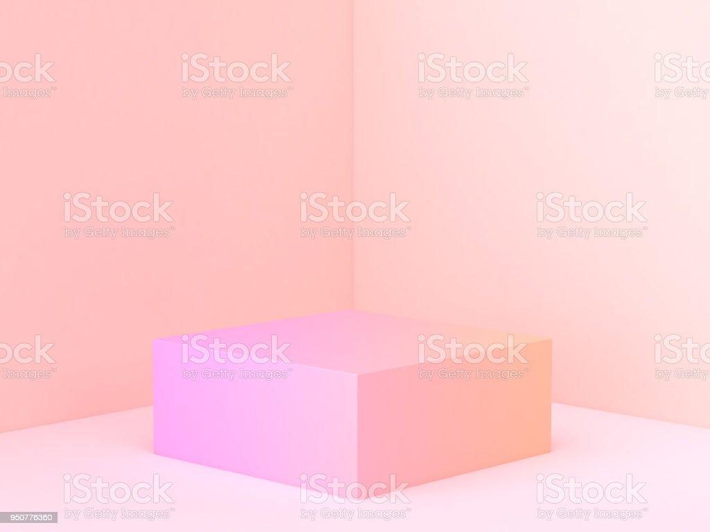 pink orange abstract wall corner scene 3d rendering minimal gradient podium stock photo