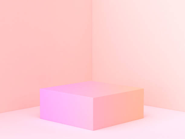 pink orange abstract wall corner scene 3d rendering minimal gradient podium stock photo