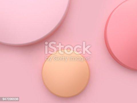 istock pink orange circle shape minimal soft pink background 3d rendering 947096536