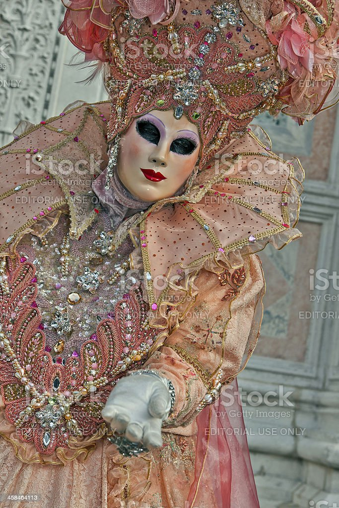 Pink Orange Mask Venice Carnival 2013 Italy royalty-free stock photo