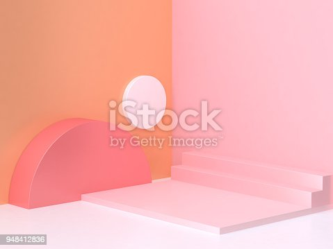 istock pink orange wall corner geometric abstract scene 3d rendering 948412836