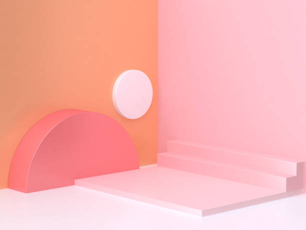 pink orange wall corner geometric abstract scene 3d rendering stock photo