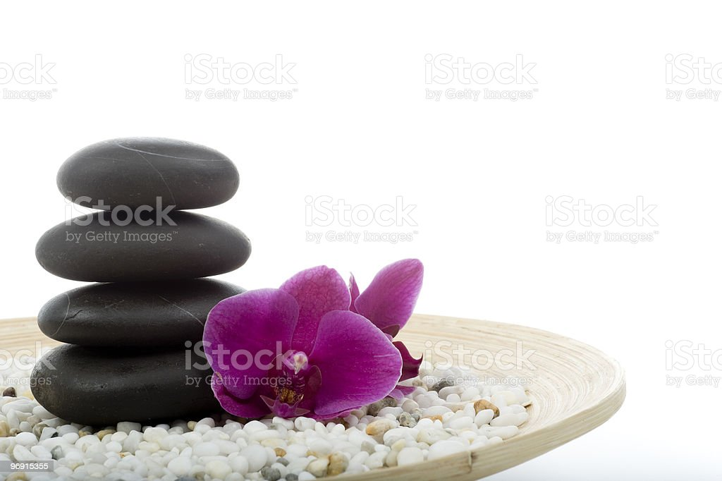 Pink Orchid and Lava Stones royalty-free stock photo