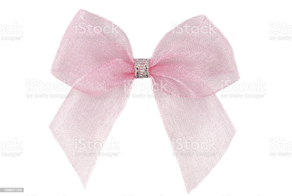 pink organza ribbon bow isolated stock photo