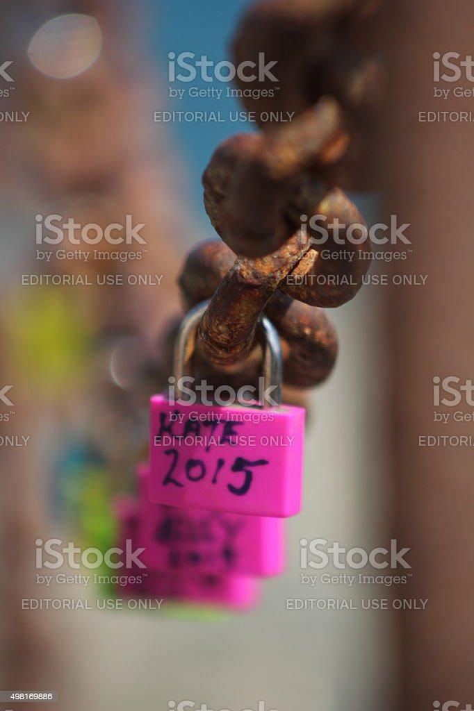 Pink padlock stock photo
