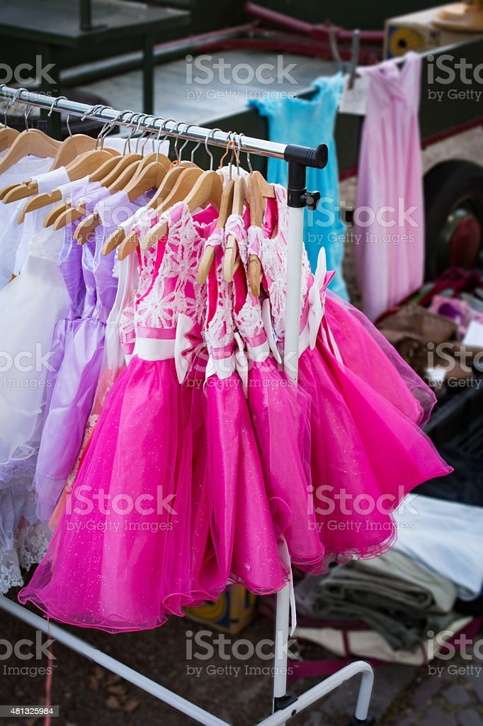 Pink Pageant dresses on a market stock photo