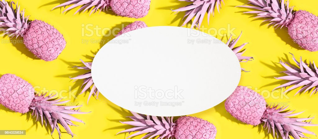 Pink painted pineapples - Royalty-free Above Stock Photo