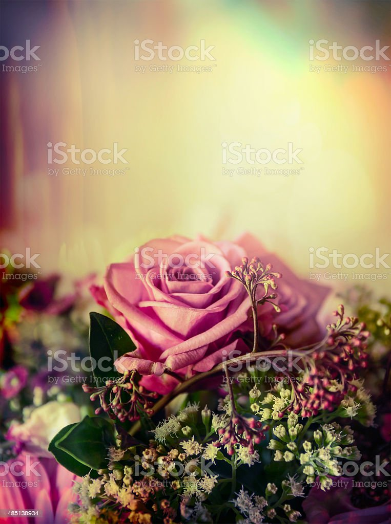Pink pale rose bouquet on pastel background, close up, toned stock photo