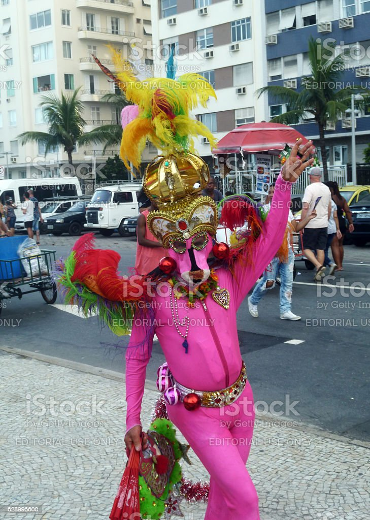 Pink Panther costumed participant at 21st Rio Gay Parade stock photo