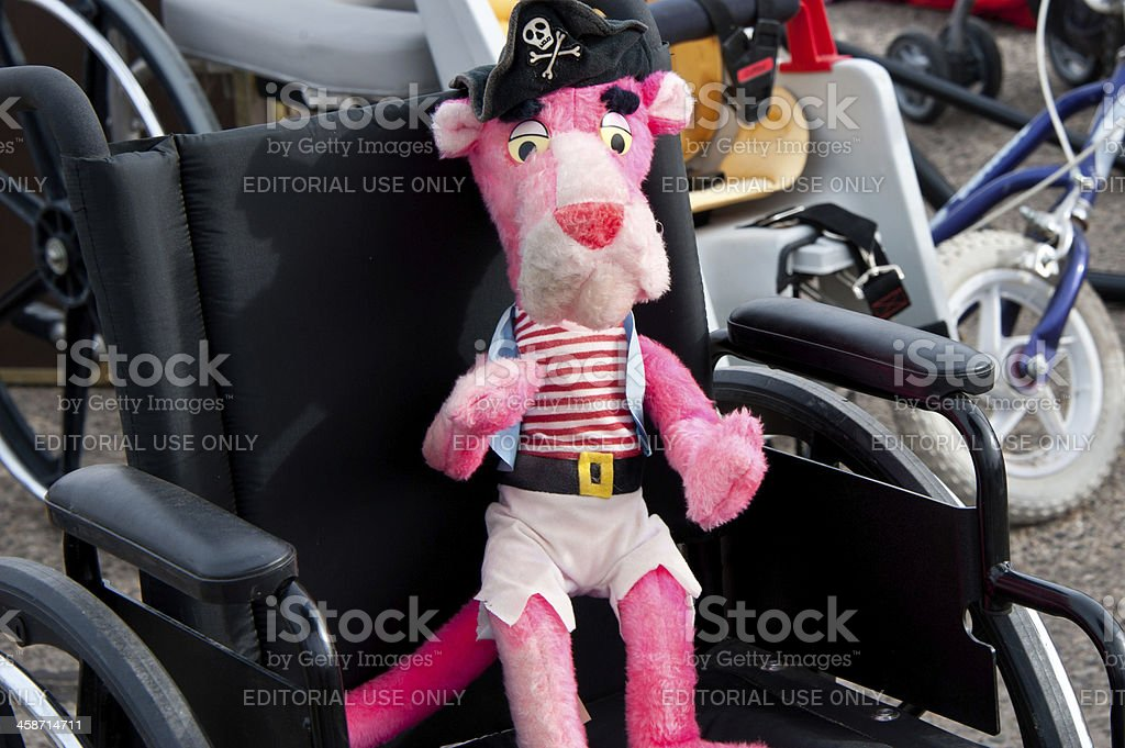Pink Panther Toy in Wheel Chair stock photo