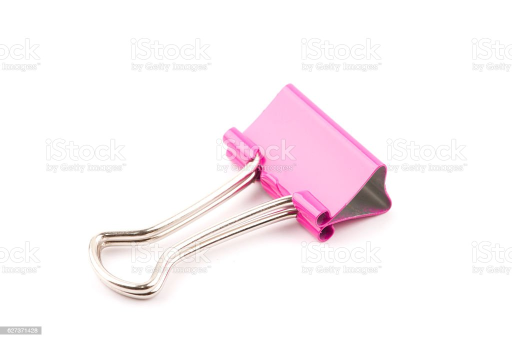 Pink Paper clip isolated stock photo