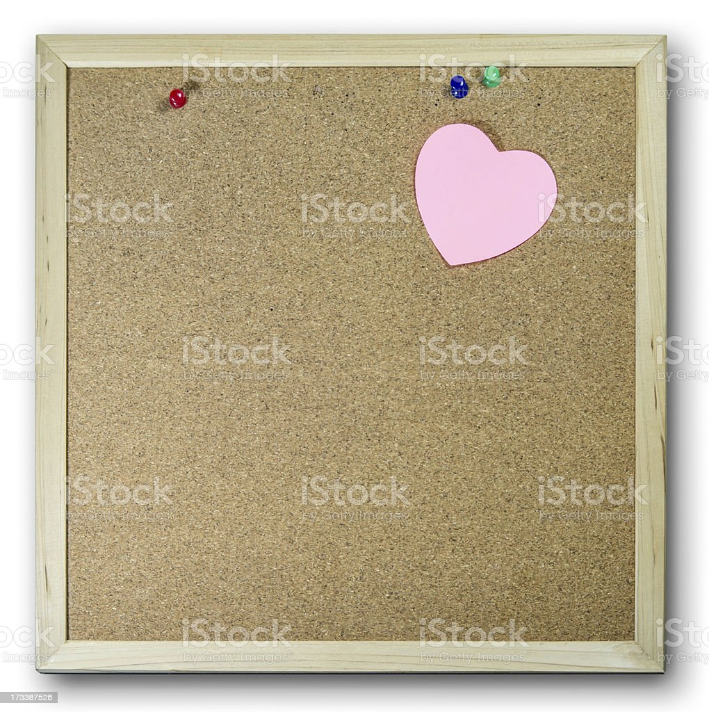 Pink Paper note on Brown Rork Board royalty-free stock photo