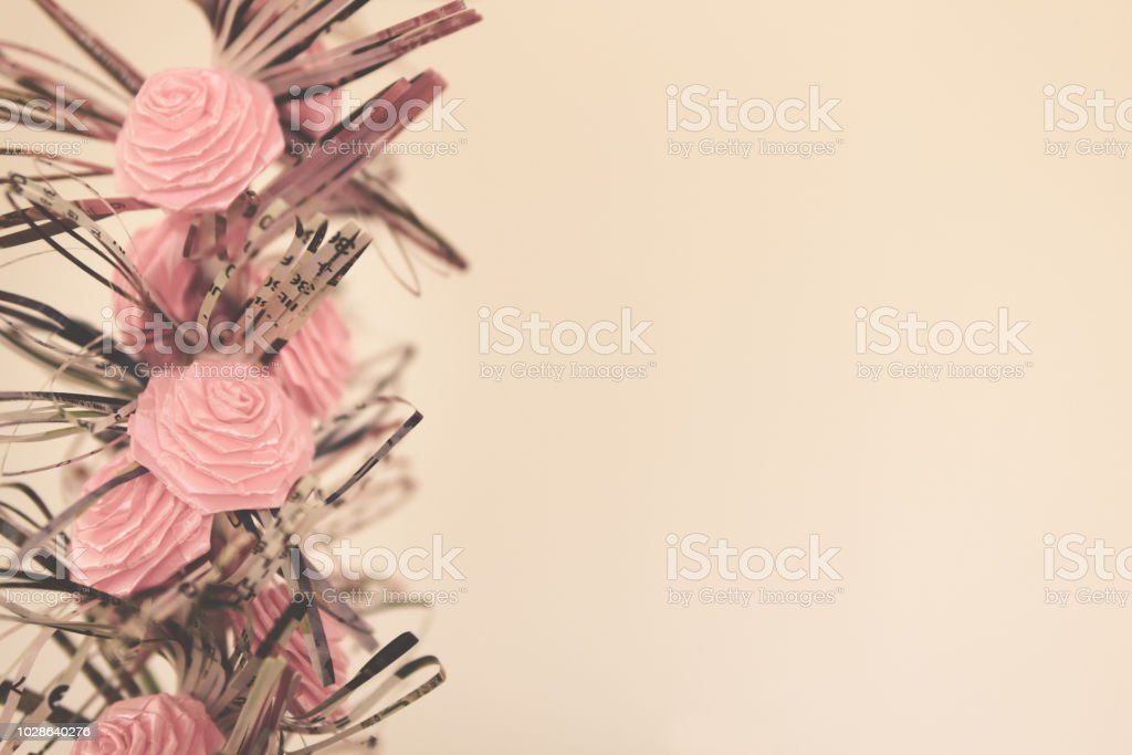 Pink Paper Roses Valentine or Birthday Background stock photo