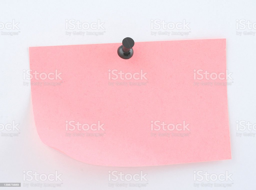 pink paper sheet  pinned royalty-free stock photo