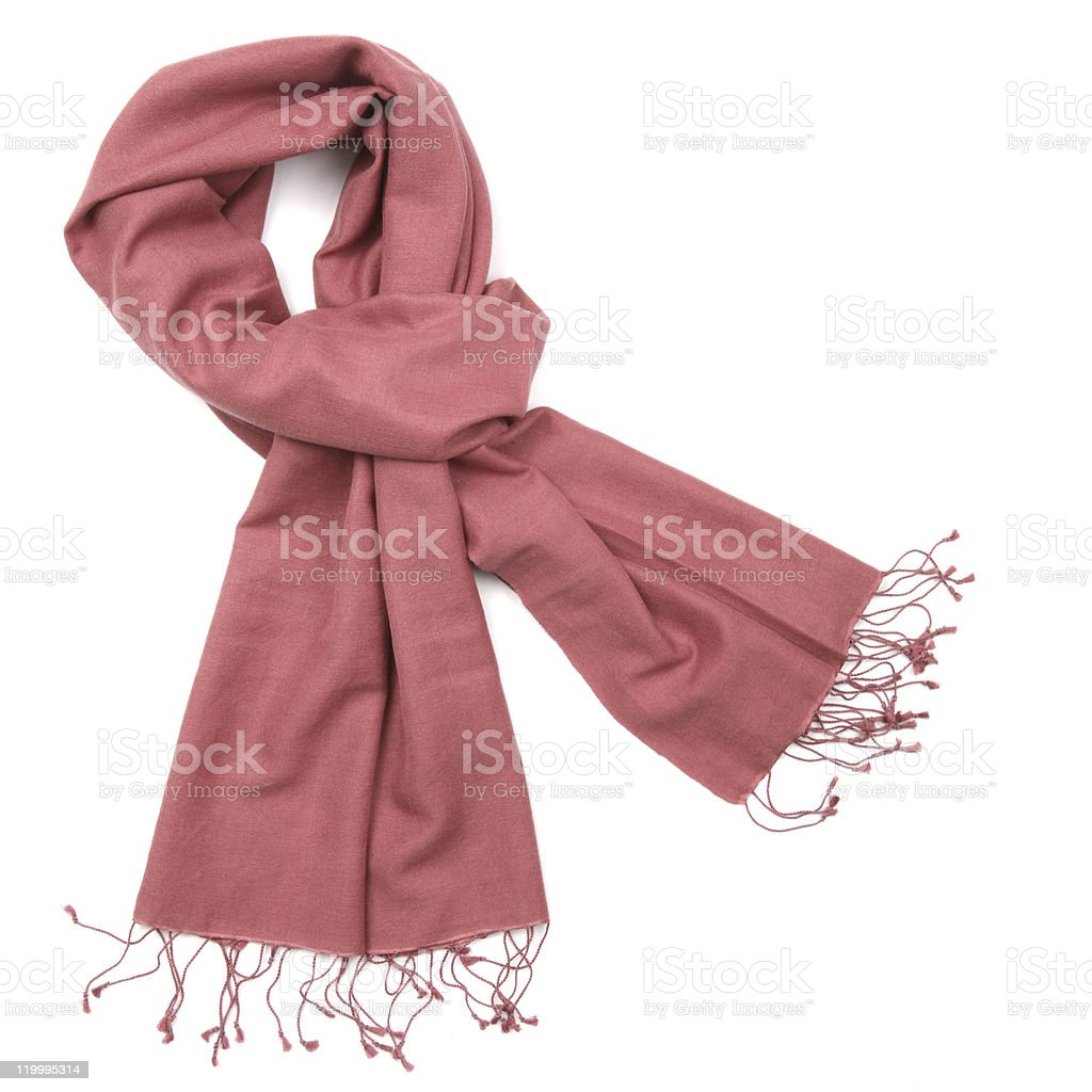 Pink pashmina scarf against white background stock photo