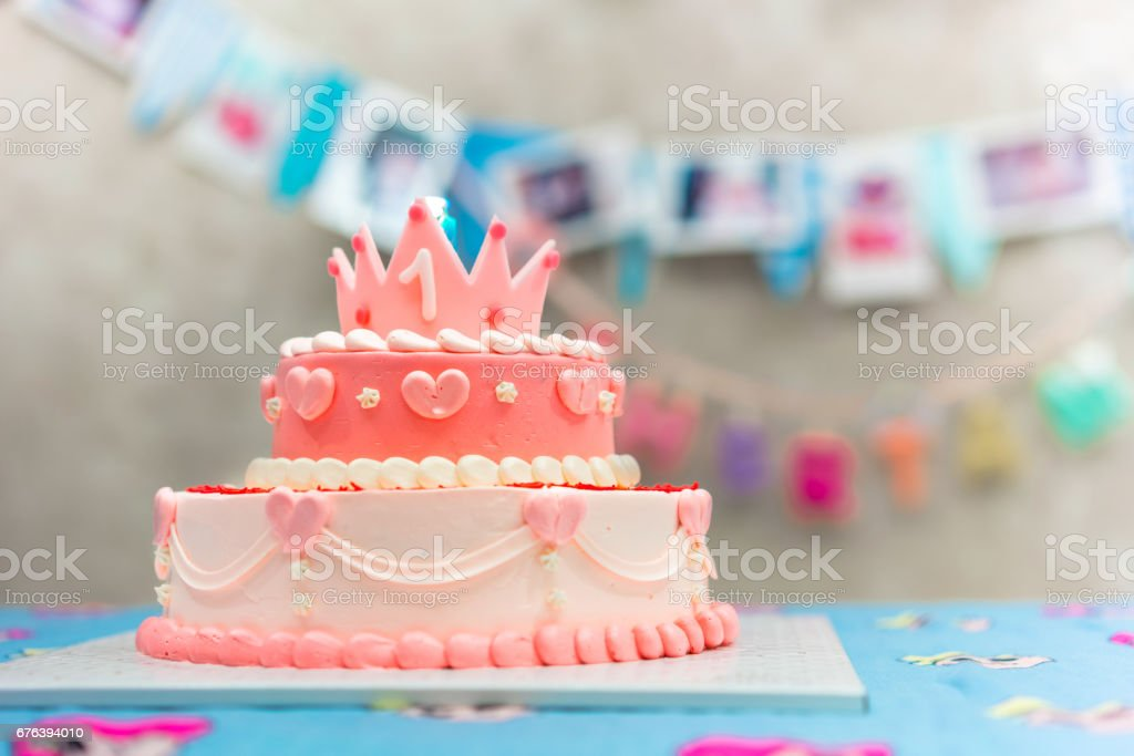 Awesome Pink Pastel Birthday Cake Crown On Top Stock Photo Download Funny Birthday Cards Online Kookostrdamsfinfo