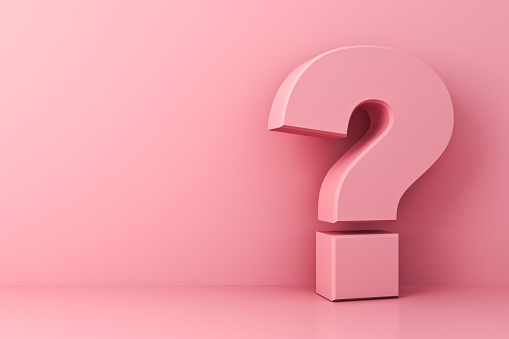 istock Pink pastel color question mark isolate on pink background with shadow 1212784046