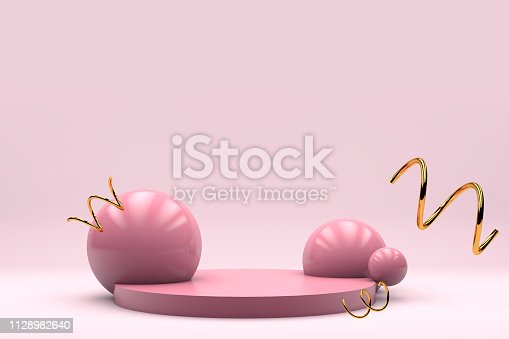 istock Pink pastel product stage background for banner flyer 3d render copy space 1128982640