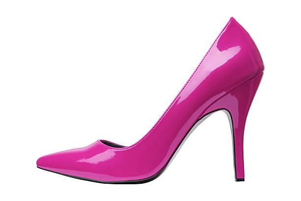 pink eleganter schuh, isoliert auf weiss - schuhe mit absatz stock-fotos und bilder