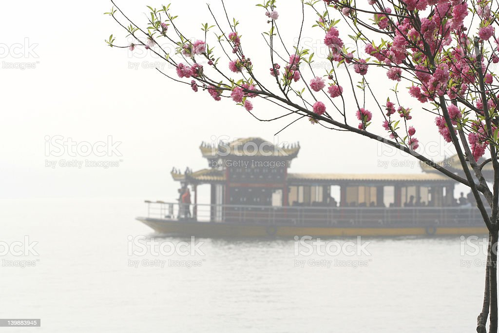 Pink Peach and Chinese Boat royalty-free stock photo