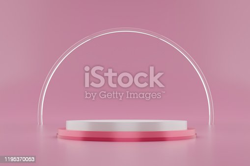 istock Pink pedestal or podium display with glass ring platform on valentines concept background. Blank cosmetic shelf stand for showing product. 3D rendering. 1195370053