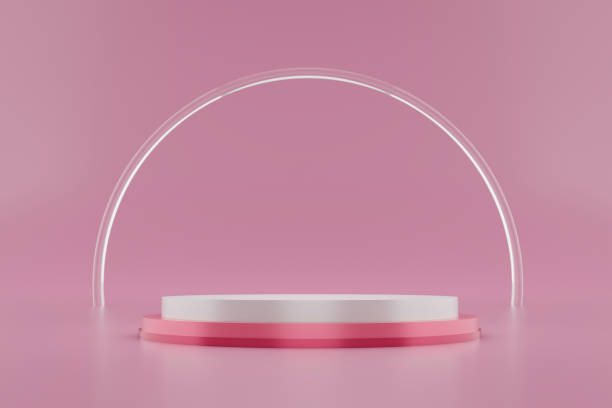 Pink pedestal or podium display with glass ring platform on valentines concept background. Blank cosmetic shelf stand for showing product. 3D rendering. stock photo
