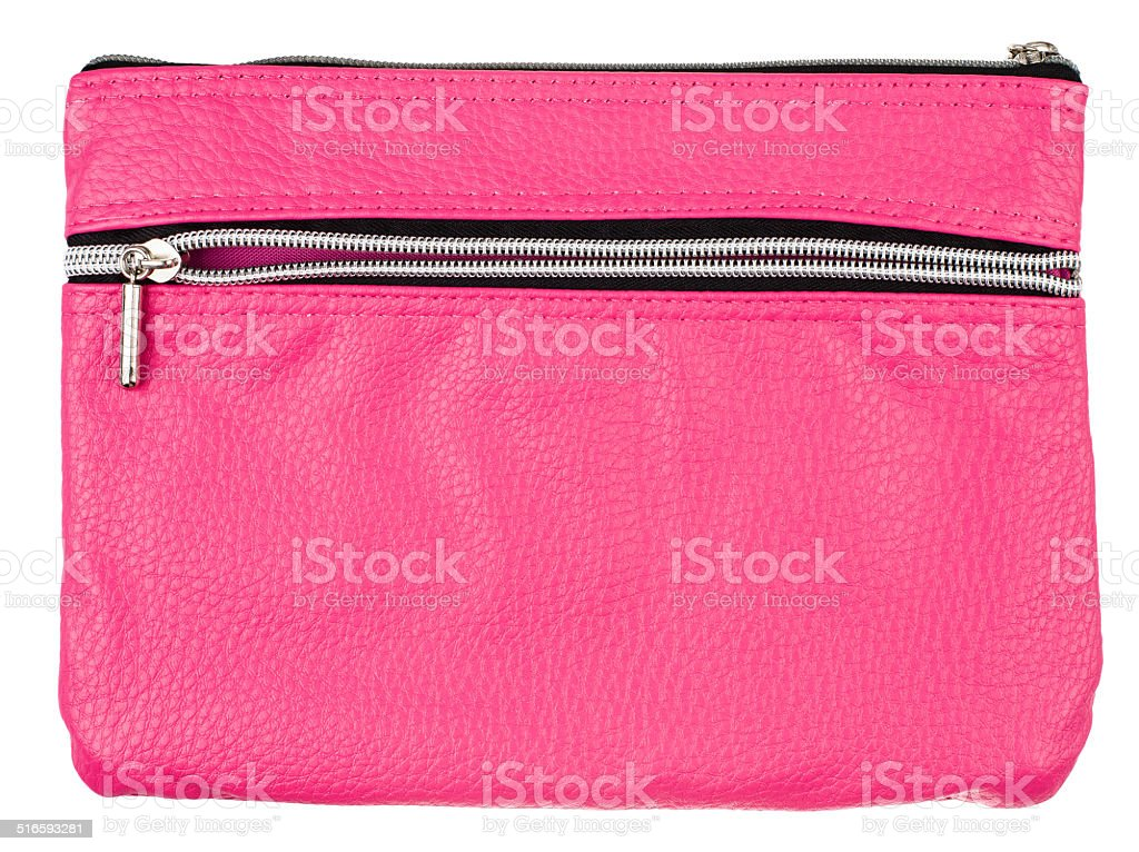 pink pencil case isolated on white background stock photo