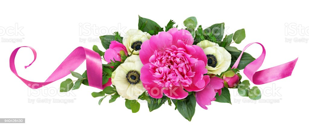 Pink peonies and anemone flowers in floral arrangement stock photo pink peonies and anemone flowers in floral arrangement royalty free stock photo mightylinksfo