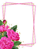 istock Pink peony flowers and buds in a corner floral arrangement  with a frame 1192225434