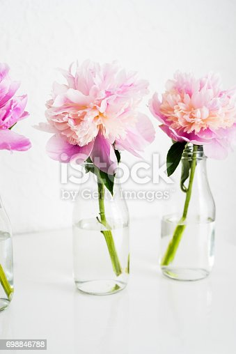 Pink peony in a glass bottle